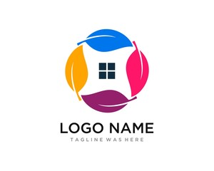Leaf Eco Green Residential Flat Color Clean Professional  Logo Template
