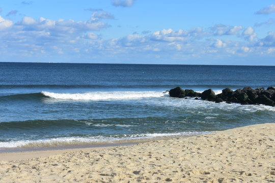 Waves Crashing on Beach at Long Branch, New Jersey -2