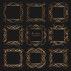 Set of golden dividers vintage frames, Vector illustration.