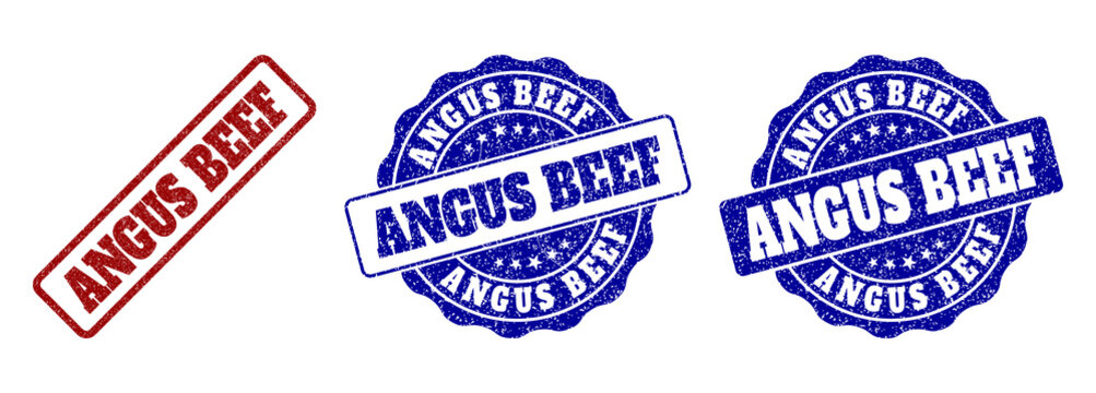 ANGUS BEEF grunge stamp seals in red and blue colors. Vector ANGUS BEEF marks with grunge surface. Graphic elements are rounded rectangles, rosettes, circles and text tags.