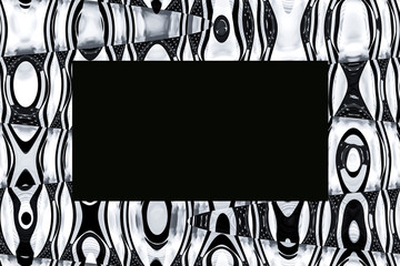 Abstract background with waves and stars in black, grey, white, and cream tones with black rectangular overlay space for text