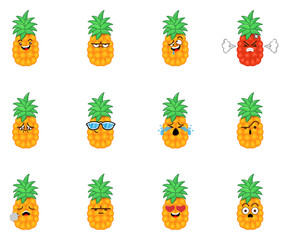 Set of Adorable Pineapple Emoticons, facial expressions for chat application, social media, and website. Cartoon Vector