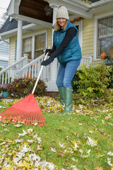 person raking leaves