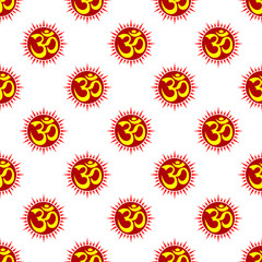Aum (Om) The Holy Motif Seamless Pattern