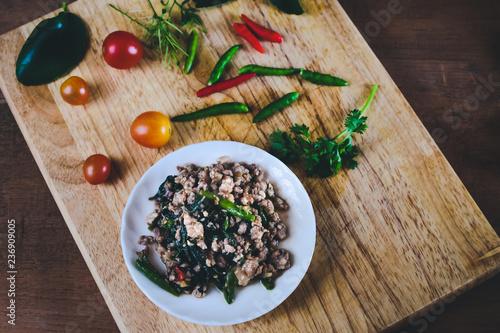Pat-Ka-Praw-Moo Thai street food Hot and Spicy pork chop and
