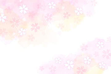 Wall Mural - 桜のイラストと水彩タッチの背景