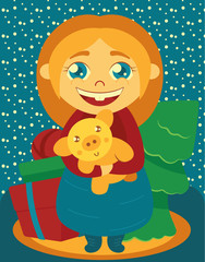 Postcard. New Year and Christmas themes. The symbol of 2019 is the yellow earth pig. A child (girl) holds a pig on the background of gifts, boxes, Christmas trees. Simple style.