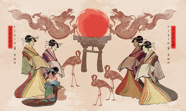 Japan art. Asian culture. Traditional Japanese, red sun, dragons and geisha woman