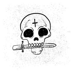 Urban Street hip hop gangsta rapper, skull in bandana