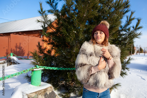 103600150d08 Portrait beauty woman model on winter background. Beautiful modern ...