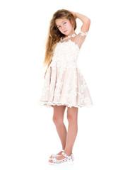 Little girl in an elegant dress.