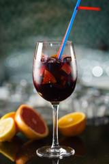 Fotobehang Cocktail fruit cocktail in the bar