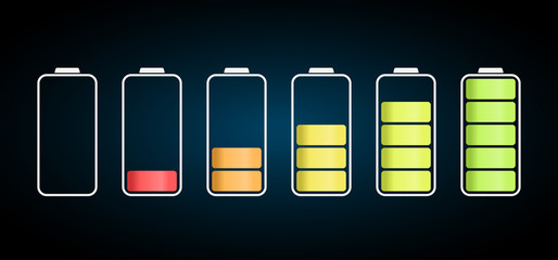 discharged to fully charged batteries, isolated vector icons