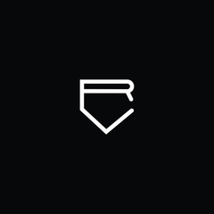 Outstanding professional elegant trendy awesome artistic black and white color RV VR initial based Alphabet icon logo.
