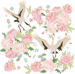 Asian illustrationwith storks and blooming peonies, sakura flowers and bonsai.