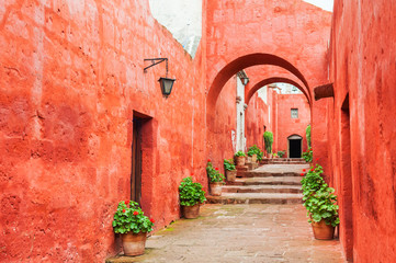 Red walls in Santa Catalina monastery in Arequipa, Peru