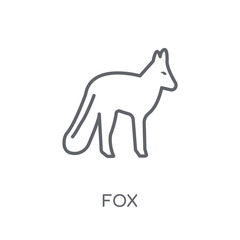 Fox linear icon. Modern outline Fox logo concept on white background from animals collection