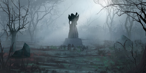 Forest Statues. Fiction Backdrop. Concept Art. Realistic Illustration. Video Game Digital CG Artwork. Nature Scenery.