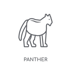 Panther linear icon. Modern outline Panther logo concept on white background from animals collection