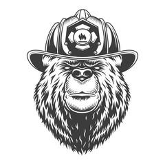Vintage monochrome firefighting concept