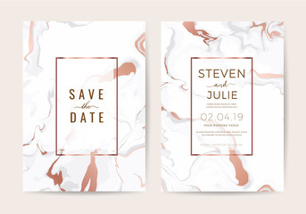 Luxury wedding invitation cards with rose gold and Pink marble texture, geometric shape vector design template