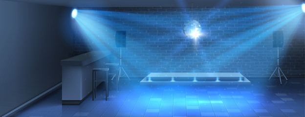 Vector realistic background, dance floor with empty stage in nightclub. Modern disco dance-hall in bar for dancing and parties, in blue shining lights with mirror ball on ceiling, interior inside