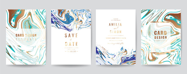 Fotobehang - Wedding Invitation, Thank you Card, rsvp, posters, modern card Design Collection. Trendy Marble background, Marbling texture design in navy blue ,green turquoise and golden texture vector temple.
