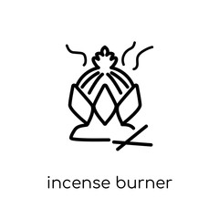 Incense burner icon. Trendy modern flat linear vector Incense burner icon on white background from thin line Religion collection