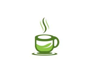 Green tea cup logo template