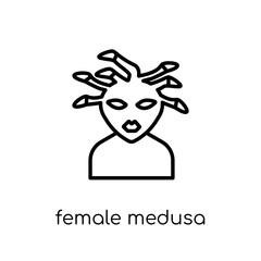 female Medusa icon. Trendy modern flat linear vector female Medusa icon on white background from thin line Fairy Tale collection