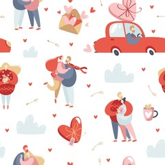 Valentine's Day vector seamless pattern with couples in love.