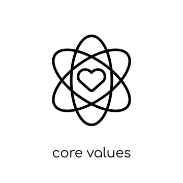 core values icon. Trendy modern flat linear vector core values icon on white background from thin line general collection
