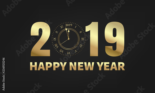 happy new year 2019 typography label 2019 with gold clock meaning one minute before