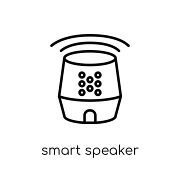 smart speaker icon. Trendy modern flat linear vector smart speaker icon on white background from thin line General collection