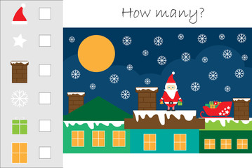 How many counting game with christmas picture for kids, educational maths task for the development of logical thinking, preschool worksheet activity, count and write the result, vector illustration