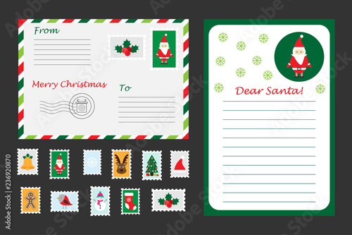 Christmas Set Of Letter To Santa Claus Envelope And Postage Stamps