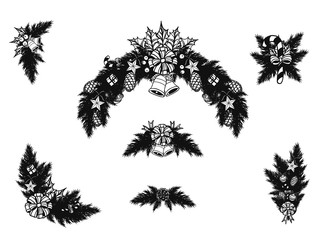Set of christmas ornament silhouette on white background.Black and white graphic vector by hand drawing