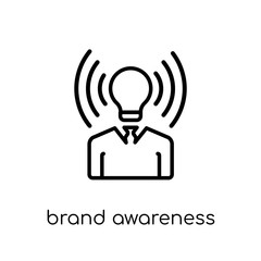 brand awareness icon. Trendy modern flat linear vector brand awareness icon on white background from thin line general collection