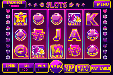 Vector Interface slot machine in purple colored. Complete menu of graphical user interface and full set of buttons for classic casino games creation. Big set of gaming casino icons