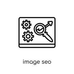 Image SEO icon. Trendy modern flat linear vector Image SEO icon on white background from thin line Programming collection