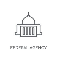 federal agency linear icon. Modern outline federal agency logo concept on white background from army and war collection