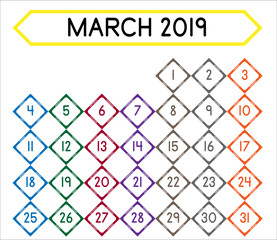 Detailed daily calendar of the month of March 2019