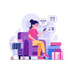 Happy woman purchasing with mobile phone on internet digital store. Korean girl shopping online at home. Smiling customer with shopping cart making online order on sofa buying gifts and clothes.