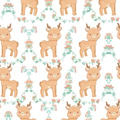 Pattern seamless background with a deer and flowers. Vector illustration. Fabric Design.