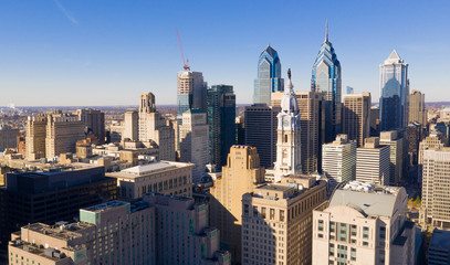 Urban Core City Center Tall Buildings Downtown Philadelphia Pennsylvania