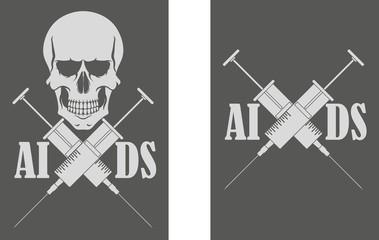 Skull syringe. Spid. Danger to life
