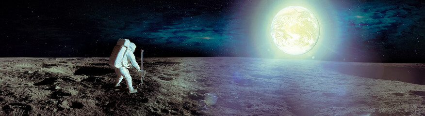 Astronaut landing on moon. Spacewalk on the moon. Panoramic view of the moon surface and the earth planet at light. Elements of this image furnished by NASA. Wall mural