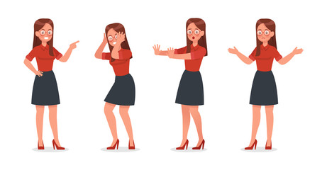 Business Woman showing different gestures character vector design. no3
