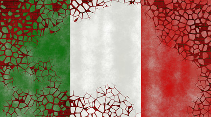 Illustration of an Italian Flag, imitating of painting on the old wall with cracks