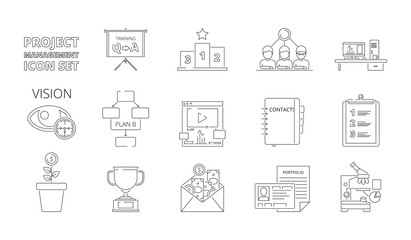 Project management symbols. Business planning processes web crm systems for work plan and strategy vector thin line pictures. Illustration of project organization icons linear style